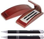 Custom JJ Series Pen and Pencil Gift Set in Rosewood Color Wood Gift Box with Hinge Cover, Black pen