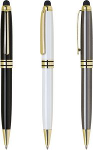 MB Series Stylus Ball Point Pen - Black stylus pen with gold trim
