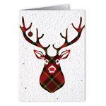 Custom Plantable Seed Paper Holiday Greeting Card - - Plaid Reindeer