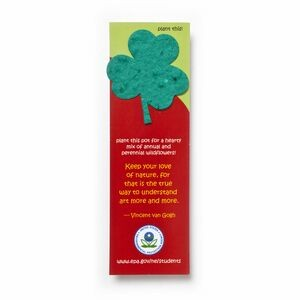 "Small Seed Paper Shape Bookmark (1.75 x 5.5"") - Leaf Style: Clover Shape"