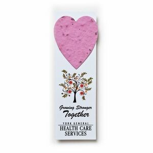 "Small Seed Paper Shape Bookmark (1.75 x 5.5"") - Heart Style 1"