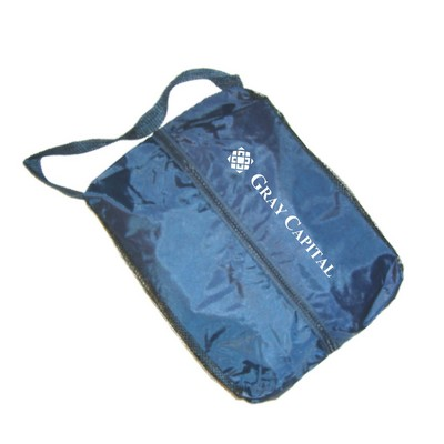"Nylon Golf Shoe Bag w/ Mesh Sides (12""x9""x4"")"