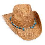 Custom Trailing Straw Hat w/Faux Leather Conch Trim