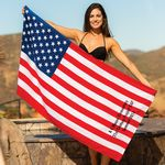Custom Stock US Flag Fiber Reactive Beach Towel (Imprinted)
