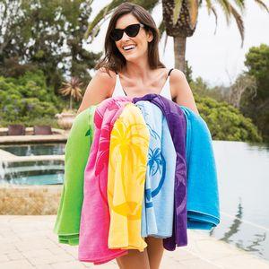 Premium Velour Beach Towel (White Imprinted)