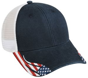 Structured American Flag Cap w/ Mesh Back