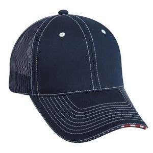 Mesh Back Structured Cap with American Flag Sandwich