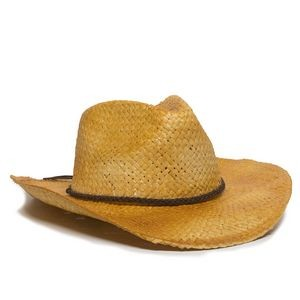 Embroiderable Straw Cowboy Hat w/ Braided Leather Band