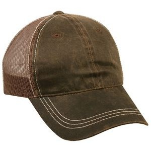 Weathered Cotton/ Polyester Mesh Back Cap