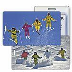 Custom Luggage Tag - 3D Lenticular Skiers/ Slope / Jump Stock Image (Blank)