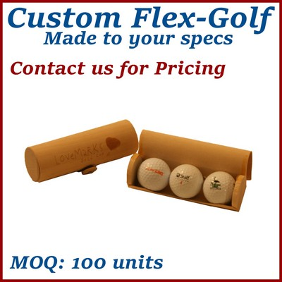 Flex Roll Box Wood Golf Ball Box (3 Golf Ball Capacity) / Wooden Box
