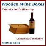 Custom Natural Single Bottle Slider-Top Wood Wine Box