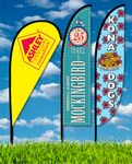 Custom Zoom 3 Straight Flag w/ Stand - 10ft Double Sided Graphic