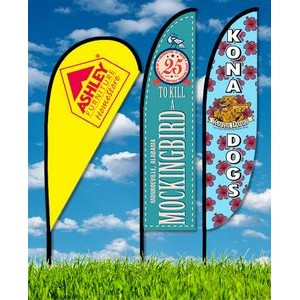 Zoom 3 Straight Flag w/ Stand - 10ft Single Sided Graphic