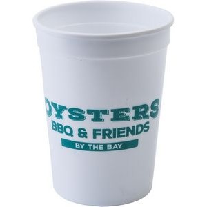12 oz. Smooth Walled Plastic Stadium Cup with Automated Silkscreen Imprint