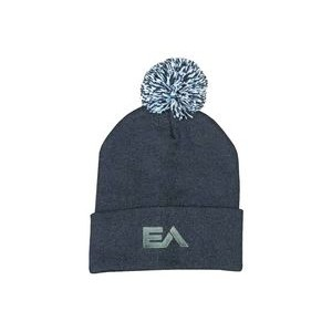 Knitted Beanie with POM (Embroidered)