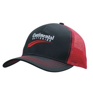 6 Panel Hot Value Cap Breathable Poly Twill with Contrast Stitching & Mesh back(Embroidered)