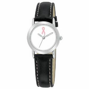 Ladies Promotional Watch With Black Strap And Contrast Stitching