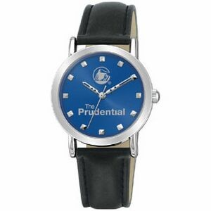 Ladies Silver Blue Dial Round Watch