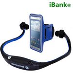 Custom iBank(R) Wireless Bluetooth Headphones for Smartphones and Tablets + Sport Armband (blue)