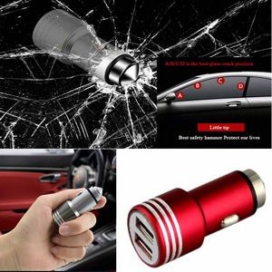 iBank(R) Dual USB Car Charger 3.1A / Emergency Rescue Hammer (Red)