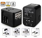 Custom iBank(R) World Travel Adapter with 4 USB Ports (Black)