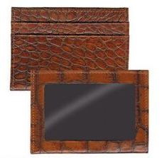 Brown Ostrich Leather Credit Card/ ID Wallet