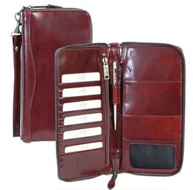 Mahogany Italian Leather Travel Wallet
