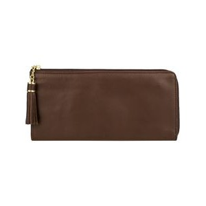 Ladies Pebbled Leather Wallet With 3-Way Zip