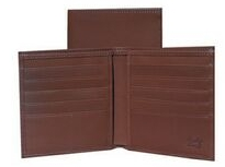 Brown Crocodile Calfskin Leather Credit Two Fold Wallet