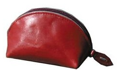 Red Veg Tanned Calf Leather Coin Purse