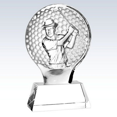 "Large Glass Male Golfer Champion on Crystal Base Award (5 3/8""x8 1/2"")"