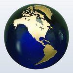 Custom Cobalt Blue Molten Glass World Globe w/ Gold Accent (3