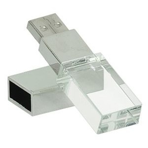 "2-1/4"" 8GB Glass with White LED Flash Drive & Black Presentation Box"