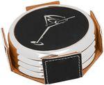 Custom Black w/Silver Edge Round Laserable Leatherette 4-Coaster Set with Holder
