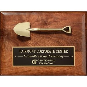 "Walnut Satin Finish Plaque with Cast Shovel and Black Plate, 9""x12"""