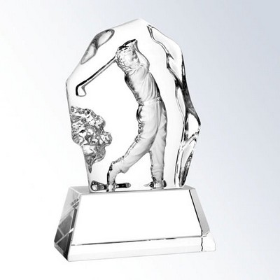 "Small Glass Male Golfer Action on Crystal Base Award (3 1/2""x6 1/2"")"