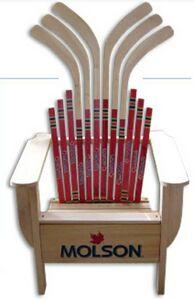Custom wood hockey stick adirondack chair 4 840 adiro for Stick furniture plans