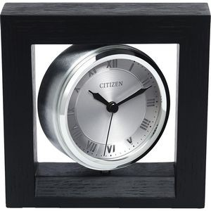 Citizen Wooden Mantel Clock with Picture Frame and Silver Accents