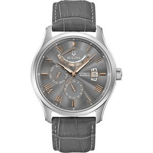 Bulova Watches Men's Classic Wilton Grey Leather Strap and Automatic