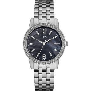 TFX Women's Stainless Steel Bracelet with Black Mother of Pearl Dial