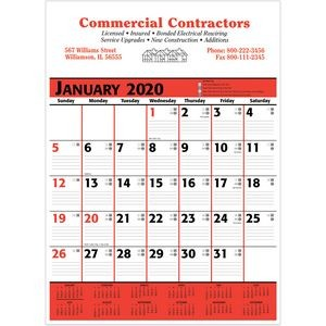 2020 Commercial Planner Wall Calendar - Red & Black