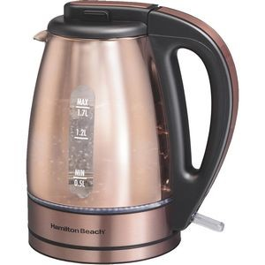 Hamilton Beach 1.7 Liter Glass & Stainless Steel Kettle with Copper Finish