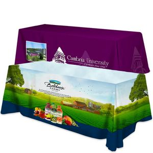 Polyester 4 Sided Flat Table Cover w/ All Over Full Color (Fits 8 Table)