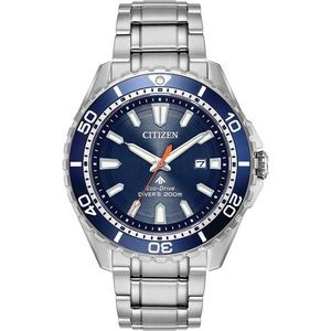 Citizen Men's Eco-Drive Promaster Professional Diver, Stainless Steel with Blue Aluminum Bezel