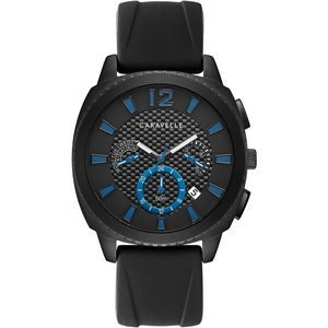 Caravelle Men's Strap from the Sport Collection- Black Leather with Blue Details