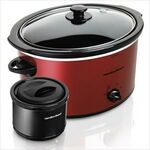 Custom Hamilton Beach 5 Quart Red Slow Cooker w/ 2 Cup Food Warmer