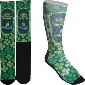 Mens Full Color Crew Promo Socks with Black Heel & Toe