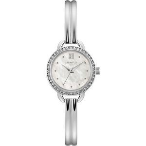 Ladies Stainless Steel Bangle Bracelet Watch with Mother-of-Pearl Dial and Crystal Bezel