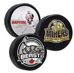Custom 4 Color Process Digitally Printed Hockey Pucks - SINGLE SIDE PRINTING--ON SALE EQP SPECIAL AT 100